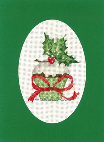 Sue Hill Christmas Cupcake Greeting Card Green Cross Stitch Kit